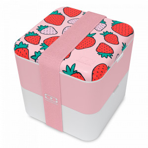 Ланч-бокс MB Square strawberry, размер: 14,8 х 14,3 см, материал: пластик, цвет: декор, MONBENTO, Франция, MONBENTO (Франция)